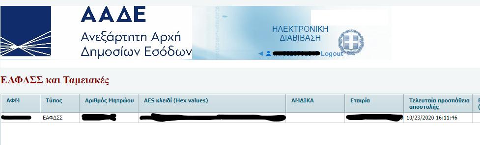 ΑΑΔΕ AES KEY